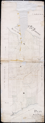 Plan of Township No,, 34 in Queens County in P. E. Island. The Property of Messrs,, Montgomeries, By James J. Bevan. Augt,, 1853.