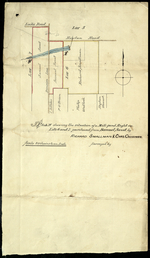 Plan shewing the situation of a Mill-pond Right on Lots 6 and 7, purchased from Samuel Sweet, by Richard Smallman & Chas. Cr